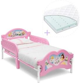 Delta Children Set pat cu cadru metalic Disney Princess si saltea pentru patut Dreamily - 140 x 70 x 10 cm