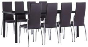 3053140 vidaXL Set mobilier de bucătărie, 9 piese, maro, piele ecologică