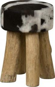 Taburet rotund din piele de vaca Cowhide alb/negru