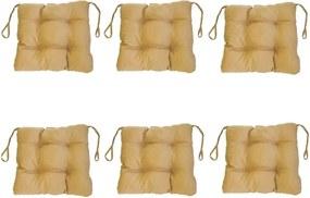 Set Perne decorative pentru scaun de bucatarie sau terasa, dimensiuni 40x40cm, culoare Bej, 6 buc/set