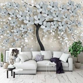 Fototapet - Copac și flori gri (254x184 cm), în 8 de alte dimensiuni noi