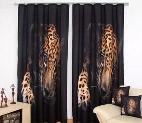 Draperie neagră cu un model de ghepard Lăţime: 160 cm | Lungime: 250 cm (într-un set de 1 bucată)