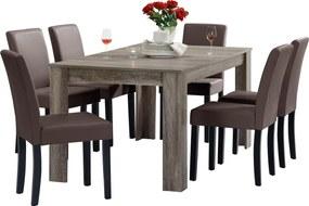 [en.casa]® Masa rustica imitatie spectaculoasa stejar Model 16, maro inchis - 160 x 90 cm - cu 6 scaune imitataie de piele - maro cu picioare negre