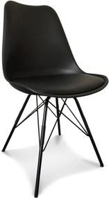 Scaun Negru din Plastic si Metal 48cm OPJET PARIS - Plastic Negru Lungime (48cm) x Latime (43cm) x Inaltime (86cm)