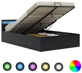 285543 vidaXL Cadru pat hidraulic ladă, LED, negru 140x200 cm piele ecologică
