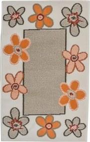 Covor Flowers model floral bej-portocaliu 80x150 cm