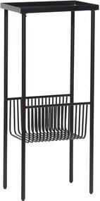 Consolă cu suport pentru reviste Hübsch Birthe, lungime 43 cm, negru