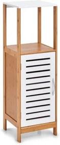 Dulap pentru baie cu 1 usa, din bambus si MDF, Stand Alb / Natural, l30xA30xH96 cm