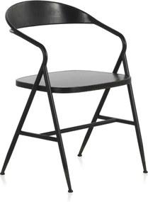 Scaun din metal Geese Industrial Style Puro, negru