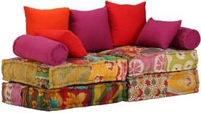 Canapea modulară cu 2 locuri, textil, model petice