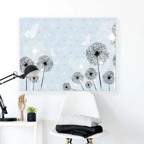 GLIX Tablou - Pattern with Black Dandelions 100x75 cm