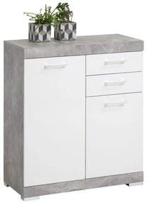 428705 FMD Dulap cu 2 uși și 2 sertare, 80x34,9x89,9 cm, gri beton și alb