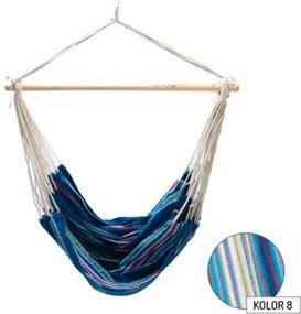 Hamac Brazilian tip Scaun, pentru Casa, Curte sau Gradina, 100x100cm, Capacitate 120kg, Culoare Albastru/Alb