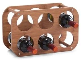 Suport sticle vin Zeller, bambus, 36x16x24 cm
