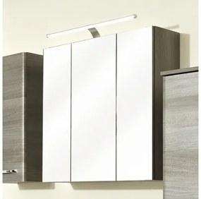 Dulap cu oglinda pelipal Ascoli, 3 usi, iluminare LED, 75x70 cm, grafit, IP 44