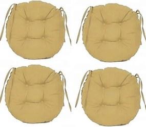 Set Perne decorative rotunde, pentru scaun de bucatarie sau terasa, diametrul 35cm, culoare bej, 4 buc/set