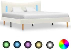 288532 vidaXL Cadru de pat cu LED, alb, 140 x 200 cm, piele ecologică