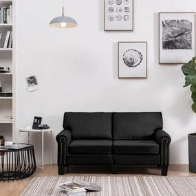 287156 vidaXL Canapea cu 2 locuri, negru, material textil
