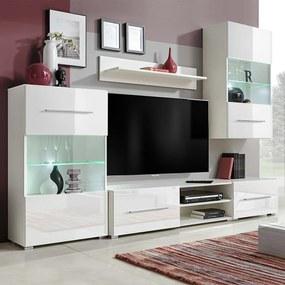 243863 vidaXL Set mobilier comodă TV de perete, 5 piese, iluminare LED, alb