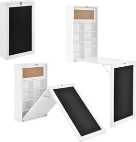 [en.casa]® Masa rabatabila cu tabla integrata pentru scris - masa pliabila birou- bucatarie - economie spatiu(alb)