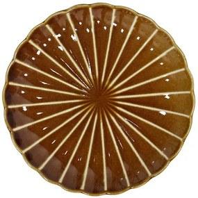 Farfurie intinsa maro din ceramica 20 cm Striped Desert HK Living