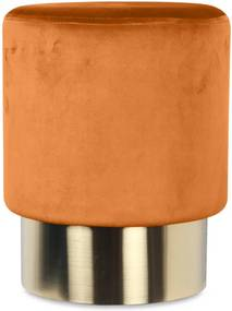 Taburet portocaliu din catifea cu baza aurie din metal 35x44 Serge Opjet Paris