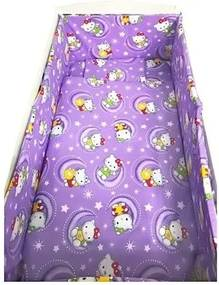 Croitoria Noastra - Lenjerie de patut bebelusi 120x60 cm 5 piese cu aparatori laterale pufoase CN Hello Kitty