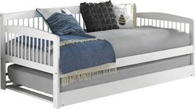 Pat extensibil pentru copii cu pat , alb, lemn masiv, PEDREZA