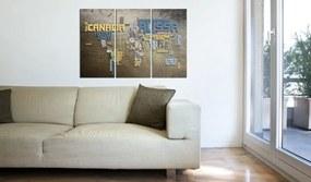 Tablou - Map of the World (Italian language) - triptych 60x40 cm