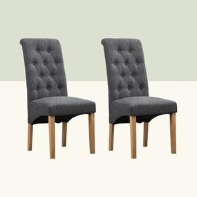 Set de 2 scaune Anya, lemn/textil, gri, 106 x 46 x 65 cm