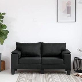 287076 vidaXL Canapea cu 2 locuri, negru, material textil