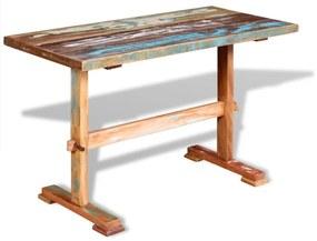 244240 vidaXL Masă bucătărie tip piedestal, 120x58x78cm, lemn solid reciclat