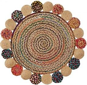 Covor rotund multicolor din iuta si bumbac 100 cm Ginnis La Forma