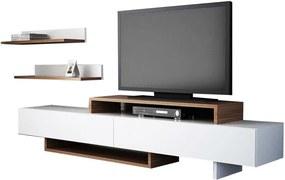 Set comodă TV și raft de perete cu aspect de lemn de tec Furny Home Nirvanas, alb