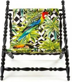 Sezlong pliabil cu cadru din lemn negru Heritage  Parrots Seletti