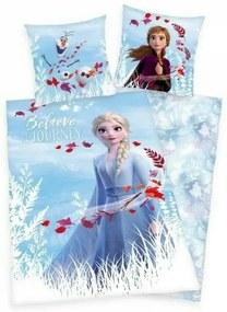 Herding - Lenjerie 2 piese Believe Reversibila Disney Frozen 2 din Bumbac, 200x140 cm