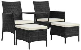 44452 vidaXL Canapea grădină cu 2 locuri cu masă & taburete, negru poliratan