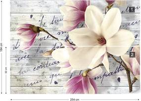 Fototapet GLIX - Magnolia Flowers Vintage + adeziv GRATUIT Papírová tapeta  - 254x184 cm