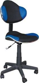 Scaun de birou ergonomic tapitat cu stofa QG2 Blue&Black 41x48x92 cm