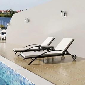 42497 vidaXL Șezlonguri de plajă cu masă, negru, poliratan