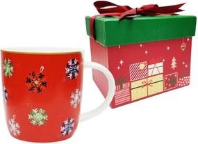 Cană din porțelan chinezesc cu motive de Crăciun ambalată în cutie muzicală Silly Design Let it Glow, 320 ml