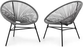 Blumfeldt Las Brisas, set de 2 scaune cu design retro cu ochiuri de 4mm, gri