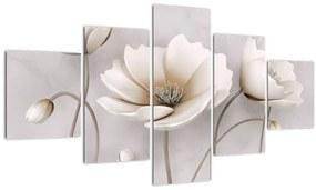Tablou cu florile albe (125x70 cm), în 40 de alte dimensiuni noi
