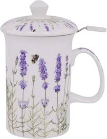 Cană din porțelan cu infuzor pentru ceai și capac Ashdene I Love Lavender, 320 ml