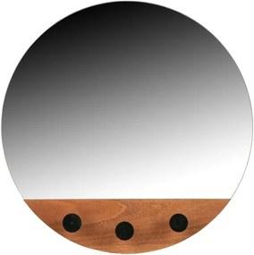 Oglindă de perete cu 3 cârlige Tyler WOOOD, ø 40 cm