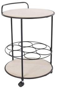 Masuta servire  cu roti si suport sticle  din lemn si metal  inaltime 60 cm
