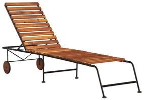 44394 vidaXL Șezlong cu picioare din oțel, lemn masiv de acacia