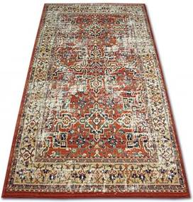 Covor Lână Vera 3237 Flori teracotă si bej Lână 80x150 cm