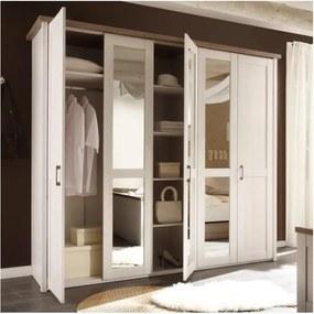 Dormitor complet (pat, 2 noptiere, dulap), pinia alb/stejar sonoma truflu, LUMERA