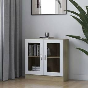 802746 vidaXL Dulap cu vitrină, alb & stejar Sonoma, 82,5 x 30,5 x 80 cm, PAL